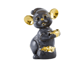 Precious 16 cm – Sculpture - Gold Lined Gray Mouse