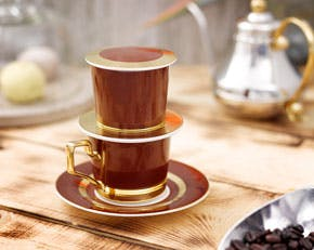 Coffee filter set (cup 0.17L) - Camellia Color - Chestnut brown