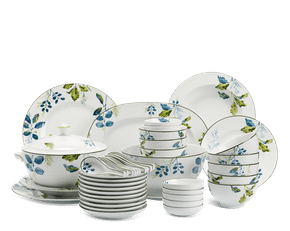 Set of 49 pcs + souptureen (for 10 persons) - Camellia - Foliage