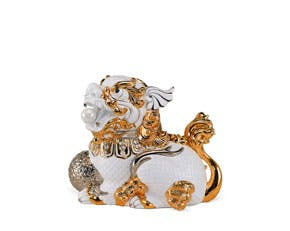 Kylin 18.5 cm (right) - Sculpture - White (gold line)