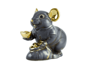 Wealth 13 cm – Sculpture - Gold Lined Gray Mouse