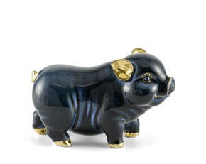 Prosperity 9 cm - Sculpture - Gold Lined Black Piggy