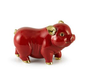 Prosperity 9 cm - Sculpture - Gold Lined Red Piggy