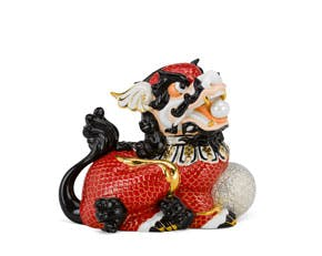 Kylin 24 cm (left) - Sculpture - Red/concha (gold line)