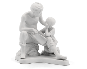 The love of my grandfather - Sculpture - White