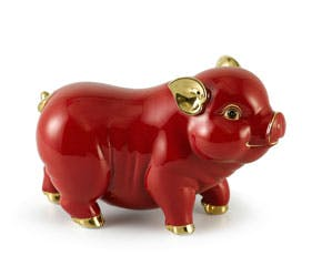 Prosperity 15 cm - Sculpture - Gold Lined Orange Piggy