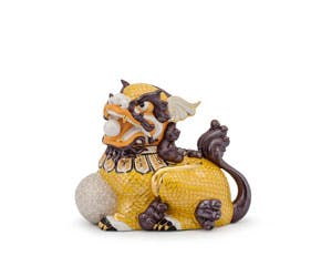 Kylin 18.5 cm (right) - Sculpture - Yellow/concha (gold line)