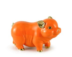 Prosperity 9 cm - Sculpture - Gold Lined Orange Piggy