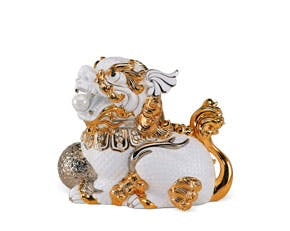 Kylin 24 cm (right) - Sculpture - White (gold line)