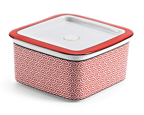 Porcelain Food container with lid 15 x 15 cm - Red Karakusa (LTF)