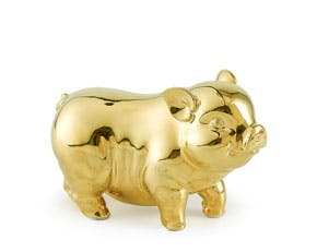 Prosperity 9 cm - Sculpture - Gold Plated Piggy