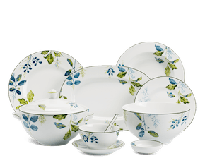 Set of 46 pcs + souptureen (for 6 persons) - Camellia - Foliage
