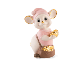 Precious 16 cm – Sculpture - Gold Lined Pink Mouse (Matt color)