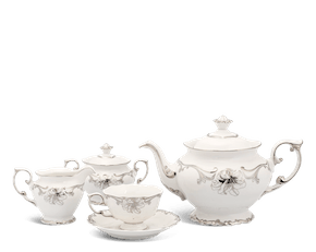 Tea set 1.3 L - Queen Decorated platinum