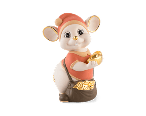 Precious 16 cm – Sculpture - Gold Lined Orange Mouse (Matt color)