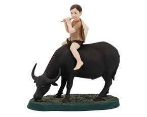 On buffalo's back - Sculpture - Hand painted