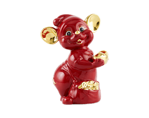 Precious 16 cm – Sculpture - Gold Lined Red Mouse