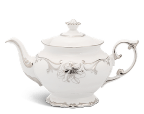 Tea pot 1.3 L + lid - Queen Decorated platinum