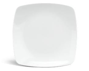 Flat square plate 27 cm - Daisy White