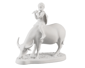 On buffalo's back - Sculpture - White