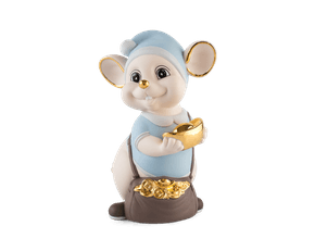 Precious 16 cm – Sculpture - Gold Lined Blue Mouse (Matt color)