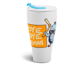 Porcelain Tumbler 0.48L and Straw Lid (Type 2) - Bye Bye Human