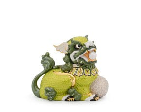 Kylin 18.5 cm (left) - Sculpture - Green/concha (gold line)