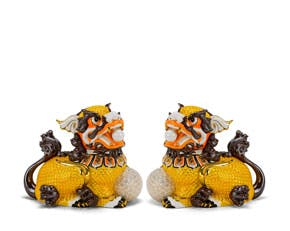 Couple of Kylins 24 cm - Sculpture - Yellow/concha