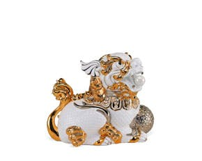 Kylin 18.5 cm (left) - Sculpture - White (gold line)