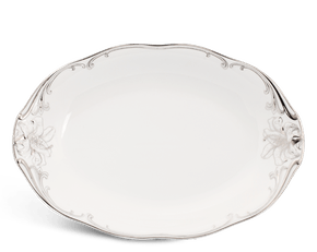 Oval plate 32 cm - Queen Decorated platinum