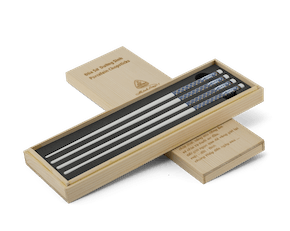 Porcelain Chopsticks 24.4 cm (02 pairs/box) - Gold-lined blue 2 - Wood box
