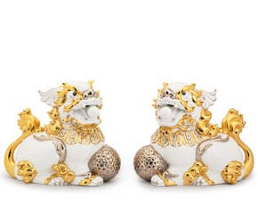 Couple of Kylins 34 cm - Sculpture - White (gold)