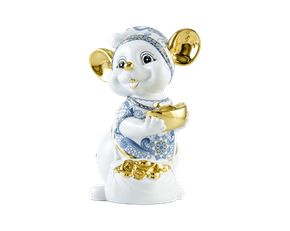 Precious 24 cm – Sculpture - Gold Lined Mouse (Cobalt Lotus)
