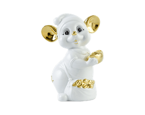 Precious 10cm - Sculpture - Gold Lined White Mouse