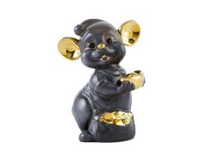 Precious 10 cm – Sculpture - Gold Lined Gray Mouse