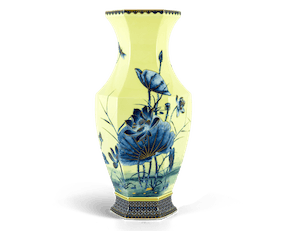 Emerging Fortune Yellow Lotus Hexagon Vase 40 cm