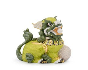 Kylin 24 cm (left) - Sculpture - Green (gold line)