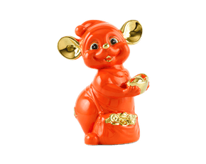 Precious 16 cm – Sculpture - Gold Lined Orange Mouse