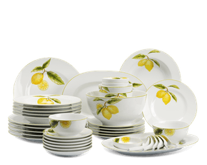 Set of 46 pcs + souptureen (for 6 persons) - Camellia - Lemon