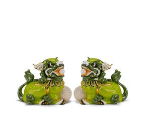 Couple of Kylins 18.5 cm - Sculpture - Green/concha