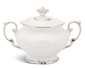 Sugar bowl 10 cm + lid - Queen - Platinum line
