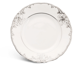 Round plate 20 cm - Queen Decorated platinum