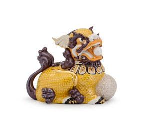 Kylin 24 cm (left) - Sculpture - Yellow/concha (gold line)