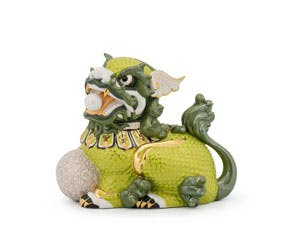 Kylin 24 cm (right) - Sculpture - Green/concha (gold line)