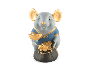 Wealth 13 cm – Sculpture - Gold Lined Blue Mouse (Matt color)
