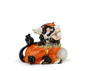 Kylin 18.5 cm (left) - Sculpture - Orange (gold line)