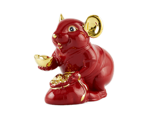 Wealth 20 cm – Sculpture - Gold Lined Red Mouse