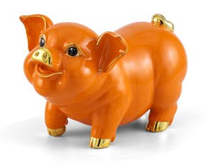 Blooming Fortune 24.5 cm - Sculpture - Gold Lined Orange Piggy