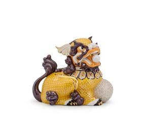 Kylin 18.5 cm (left) - Sculpture - Yellow (gold line)