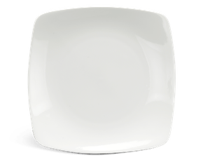 Flat square plate 25 cm - Daisy LY'S - White Ivory